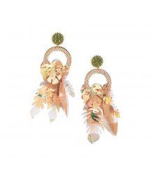 Nude pearl and leaf earrings - AMAZONAS EARRING-GP-M-7614