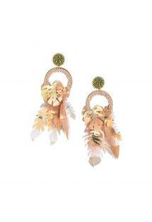 Boucles d&#39oreille nude en perles et feuilles - AMAZONAS EARRING-GP-M-7614