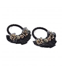 Round black earrings with pearls and tassels - CARTAGENA EARRING-BE-M-6769