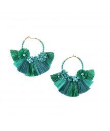 Pärlade kreolska örhängen med gröna tofsar - CARTAGENA EARRING-BE-S-7626