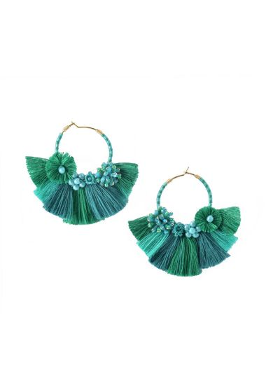Beaded green creole earrings with tassels - CARTAGENA EARRING-BE-S-7626