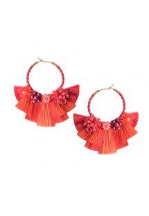 Kreolen-Ohrringe mit Perlen und roten Pompons - CARTAGENA EARRING BE-S-7704