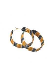 Wide hoop earrings in ocher and blue pearls - KORAL EARRING BE-M-8115