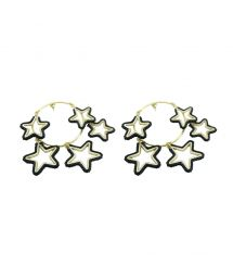 Golden earrings with 5 dark pearl stars - Night Earring GP M 6462
