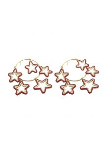 Golden earrings with 5 pink pearl stars - Night Earring GP M 6622