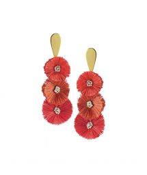 Red dangle earrings with pompoms - PUFFY EARRING-GP-M-7390