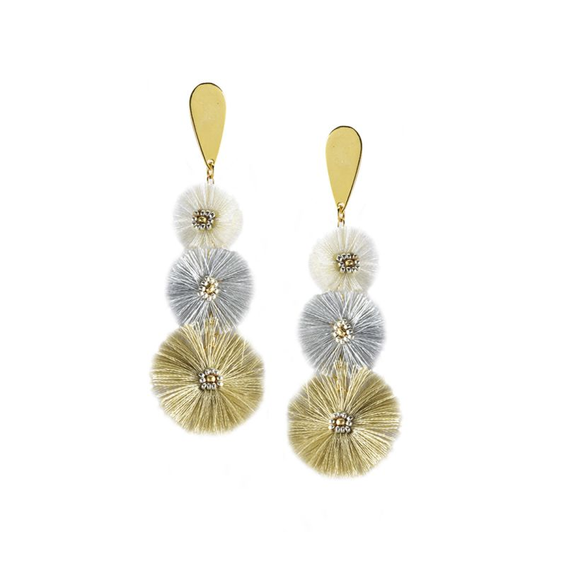 Golden dangle earrings with pompoms - PUFFY EARRING-GP-M-7392