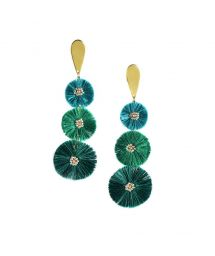 Green dangle earrings with pompoms - PUFFY EARRING-GP-M-7711