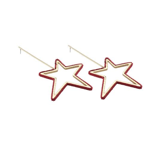 Golden earrings with single pink pearl stars - Star Earring GP XL 6463