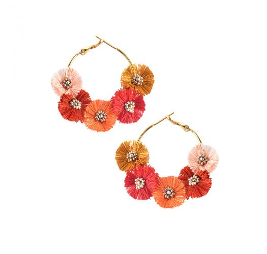 Creole earrings with red & orange pompoms - STARRY SUN EARRING-GP-M-7102