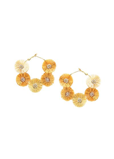 Creole earrings with golden pompoms - STARRY SUN EARRING-GP-M-7727