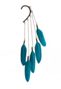 Ear cuff with blue feathers, American Indian style - Teal Dangle feather ear cuff