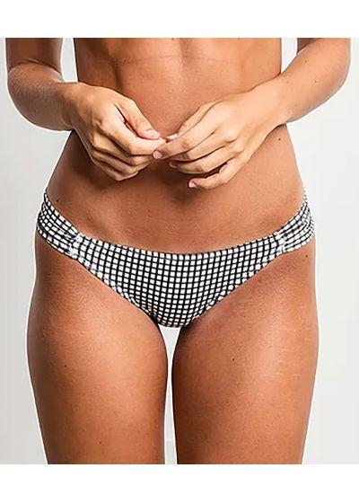 Black and white checked Brazilian bikini bottom - BOTTOM MEIA TAÇA XADREZ PRETO