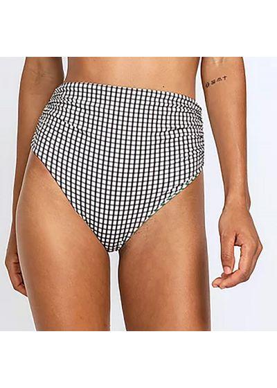 Reversible checked high waisted bikini bottom - BOTTOM TRI FIXO BABADO XADREZ DUPLA FACE