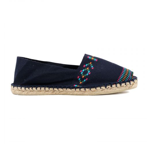 Organic cotton navy blue espadrilles with Aztec print - CLASSIQUE 2 - Azteque Marine