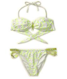 Fluorescent yellow Amenapih bandeau swimsuit - OSIRISWIM YELLOW
