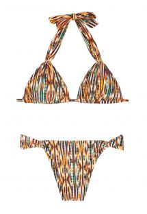 Sliding ethnic print triangle bikini with gold-tone rings - ADJUSTABLE HALTER BIKINI THAY