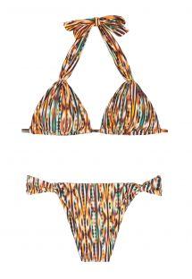 Bikini uetno štampi sa kliznim trouglićima i prstenovima u zlatnom tonu - ADJUSTABLE HALTER BIKINI THAY