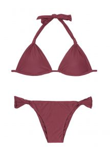 Sliding burgundy triangle bikini, fixed bottom - ADJUSTABLE HALTER BURGUNDY