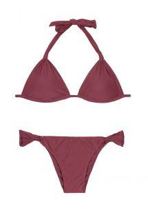 Bikini triunghiular roșu închis, slip neajustabil - ADJUSTABLE HALTER BURGUNDY