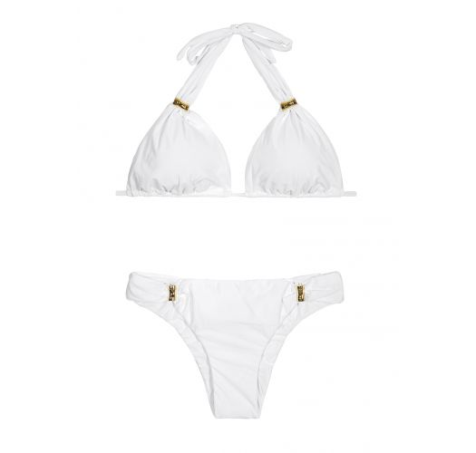 White, fully lined scarf-effect triangle bikini with gold-tone hardware - BAMBOO ADJUSTABLE WHITE BIKINI