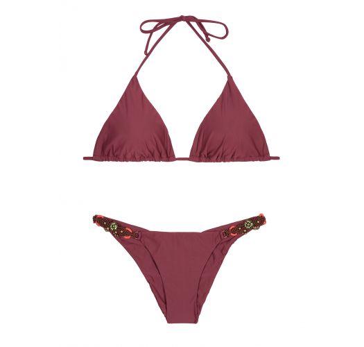 Bikini triangle bordeaux, bas fixe accessoirisé - LONG HALTER EMBROIDERED BURGUNDY