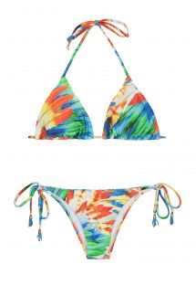 Triangle bikini with removable foam padding, colourful feathers - HALTER BIKINI IMPERIAL