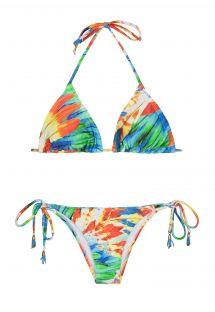Driehoekige bikini met verwijderbare schuimvulling, kleurrijke veren - HALTER BIKINI IMPERIAL