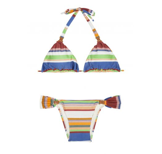Striped sliding triangle bikini, leather accents - LEATHER HALTER CRETA