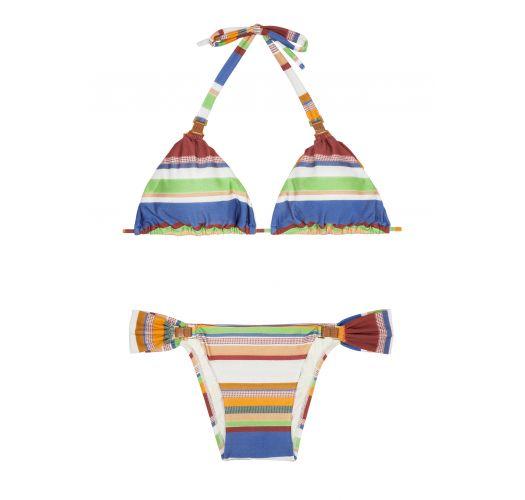 Bikini triangle coulissant rayé, détails en cuir - LEATHER HALTER CRETA