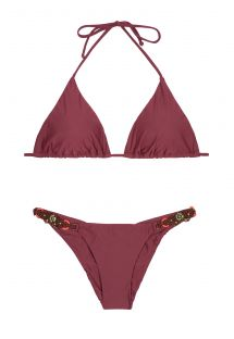 Bordeauxrode driehoekige bikini, vast broekje met accessoires - LONG HALTER EMBROIDERED BURGUNDY