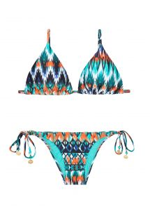 Bikini triangle coulissant ethnique bleu - LONG HALTER NEW IKAT