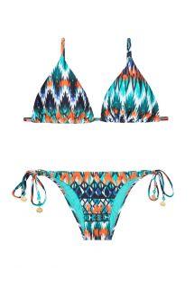 Bikini a triangolo scorrevole etnico blu - LONG HALTER NEW IKAT