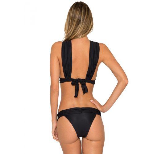 Originell und schick, schwarzer Bikini mit Crossover-Vorderteil - NECK NEW RUCHED BIKINI
