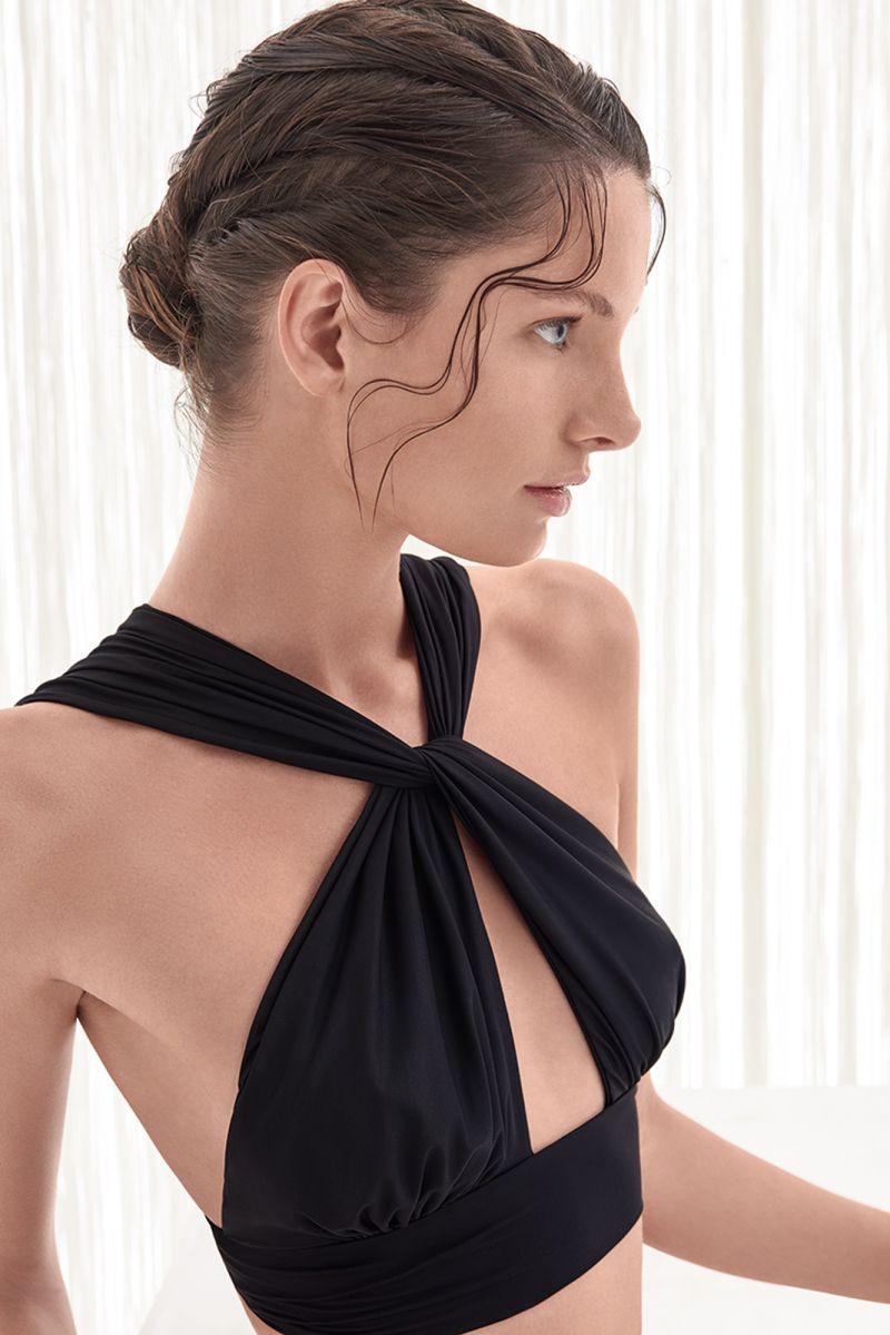 Originell och chic, svart bikini med korsade ryggband - NECK NEW RUCHED BIKINI