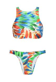 Due pezzi crop top e slip fisso, stampa a piume - NEW ATHLETIC BIKINI IMPERIAL