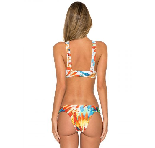 Two-piece crop top and fixed bottom, feather print - NEW ATHLETIC BIKINI IMPERIAL