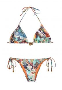 Accessorised triangle bikini with removable foam padding - PHEASANT