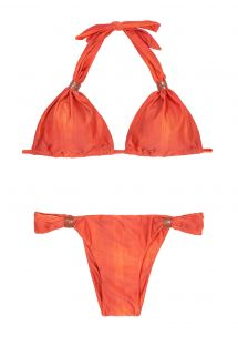 Orange justerbar triangel bikini, läder accenter - STITCHES ADJUSTABLE HALTER PATINA