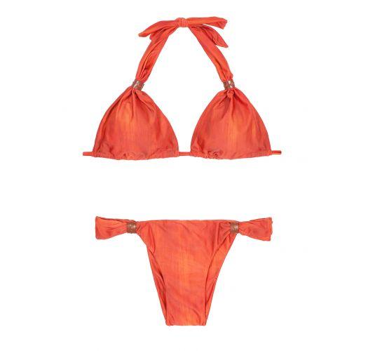 Orange sliding triangle bikini, leather accents - STITCHES ADJUSTABLE HALTER PATINA