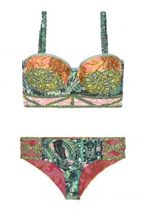 Pink and green bustier bikini with back lacing - LAURIE SAFARI