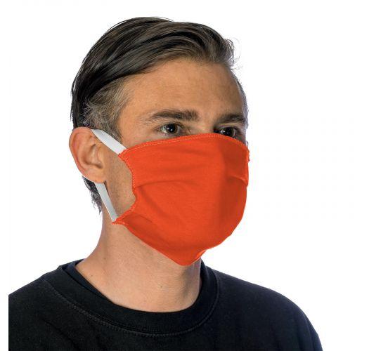 Orange cotton barrier mask with filter pocket - FACE MASK BBS14 - FILTER POCKET