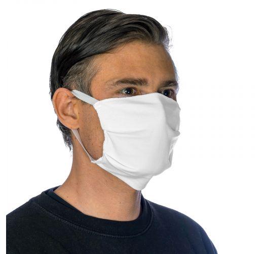 White cotton barrier mask with filter pocket - FACE MASK BBS15 - FILTER POCKET