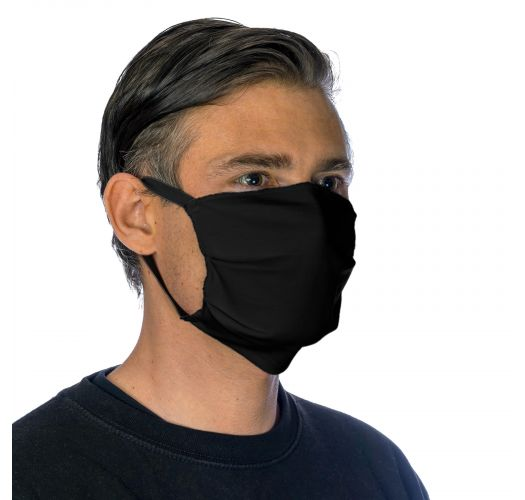 Black cotton barrier mask with filter pocket - FACE MASK BBS16 - FILTER POCKET