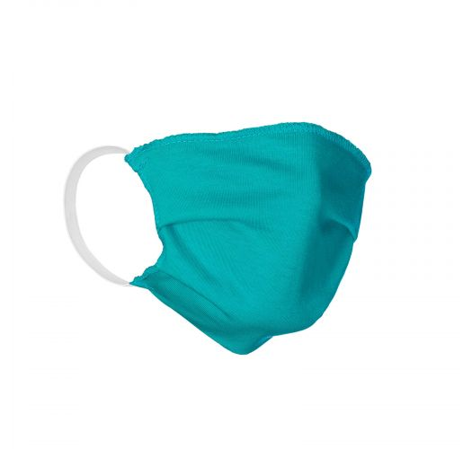 Blue cotton barrier mask with filter pocket - FACE MASK BBS18 - FILTER POCKET