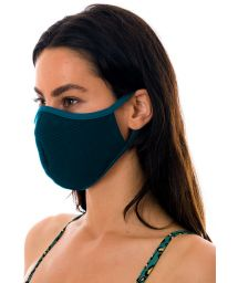 Reusable and washable navy blue textured fabric mask - FACE MASK BBS26