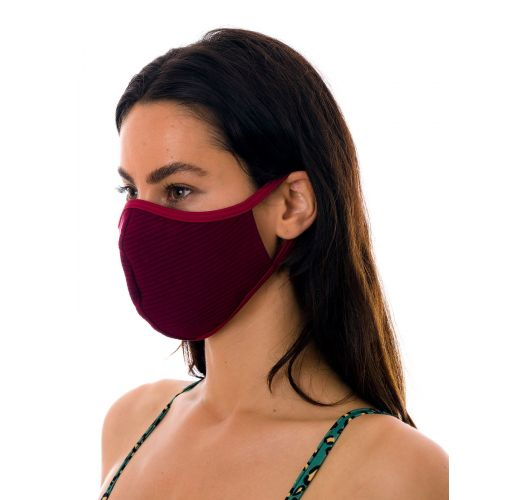 Reusable and washable burgundy textured fabric mask - FACE MASK BBS27