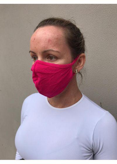 Masque tissu texturé rose lavable réutilisable - FACE MASK BBS28