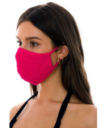 Reusable and washable pink textured fabric mask - FACE MASK BBS28