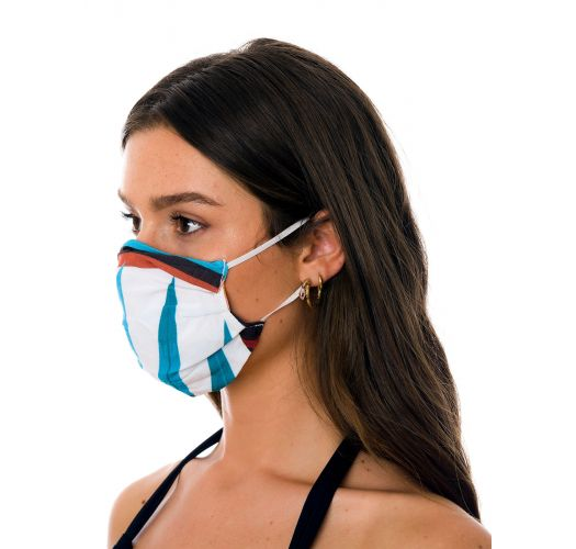 Pink tropical 3 ply reusable fabric mask - FACE MASK BBS29